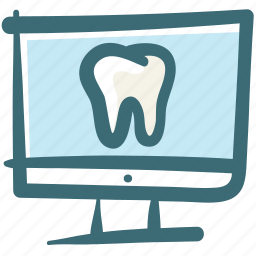 care, computer, dental, doodle, screen, tooth, webpage icon