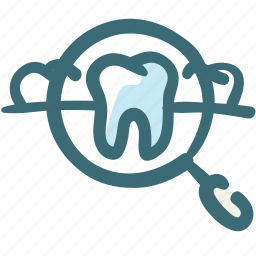 care, check, check up, dental, doodle, magnifier, tooth icon