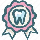 award, best, care, dental, doodle, ribbon, service icon