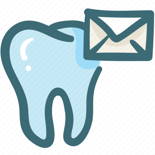 care, contact, dental, doodle, email, service, tooth icon