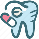 capsule, dental, doodle, medicine, pill, tablet, tooth icon