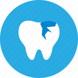 chipped, dental, dental clinic, dentist, health care, repair, tooth icon