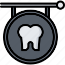 dental, dentist, medicine, sign, signboard, tooth icon