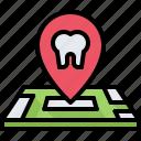 dental, dentist, location, map, medicine, pin, tooth icon