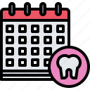 appointment, calendar, dental, dentist, medicine, tooth icon