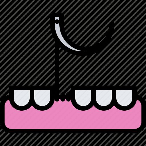 Dental, dentist, gingiva, medicine, stitching, tooth icon - Download on Iconfinder