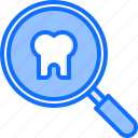 dental, dentist, magnifier, medicine, search, tooth icon
