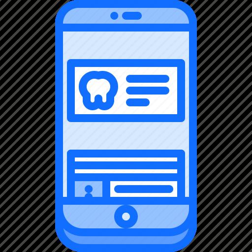 dental, dentist, medicine, notification, phone, push, tooth icon