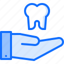 dental, dentist, hand, medicine, support, tooth icon