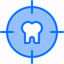 dental, dentist, medicine, target, tooth icon