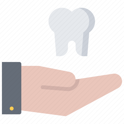 dental, dentist, hand, medicine, support, tooth icon