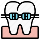 braces, canine, dental, dentist, health, teeth, tooth icon