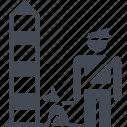 border, deportation, dog, frontier guard icon