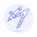 compass, design, divider, drafting, drawing, graphic, pencil, tools icon