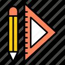 ruler, graphic design, pencil