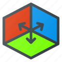 axis, directions, environment, xyz icon
