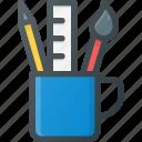 pencil, designer, art, paint, mug, design