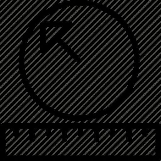 cad, computer aided design, measure, radius icon