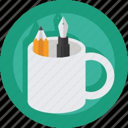 art, artist, creative, design, designer, mug, pen, pencil icon