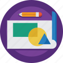 artist, creative, design, designer, document, draw, painter, paper, pencil, rolled paper icon