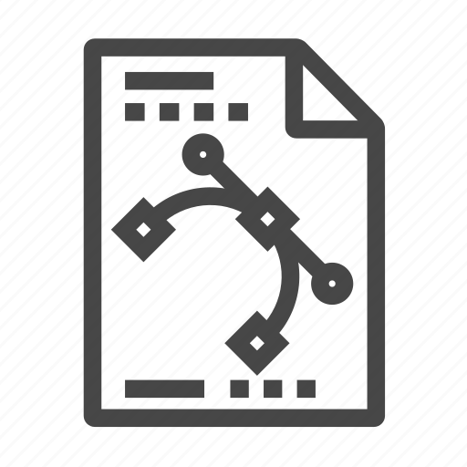bezier, curve, design, document icon
