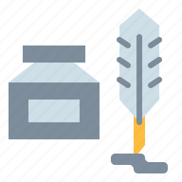 feather, ink, pen, quill, write icon