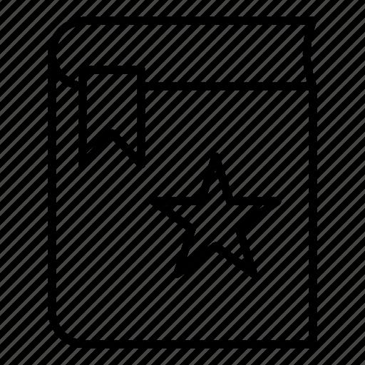 book ribbon, bookmark, favorite, label, marking icon