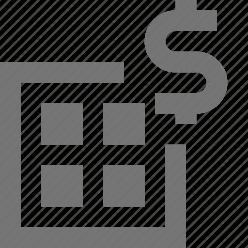 dollar, grid, layout, money icon