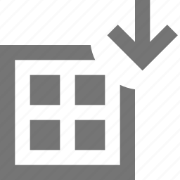 arrow, down, download, grid, layout icon