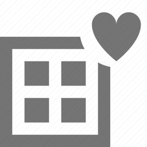 favorite, grid, heart, layout, like icon