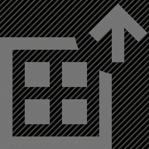 arrow, grid, layout, up, upload icon