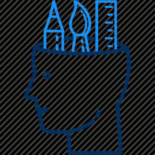 artistic, creative, creativity, design, designing, head, mind icon
