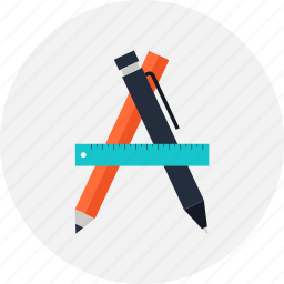 design, development, drawing, illustration, instrument, pen, pencil, ruler, tool icon