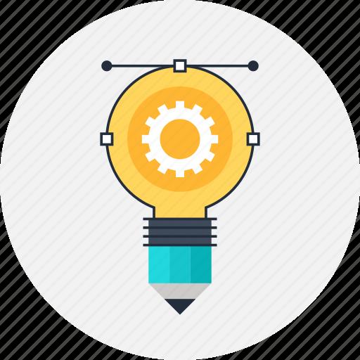 bulb, creative, design, development, draw, idea, illustration, imagination, light, pencil, process icon