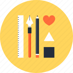 design, development, draw, illustration, instrument, pen, pencil, ruler, tool icon