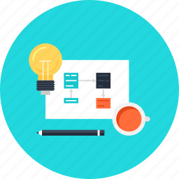 bulb, coffee, cup, design, development, document, idea, light, management, process, project icon