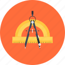compass, design, development, draw, education, geometry, instrument, measure, precision, protractor, refine, tool icon