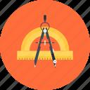 compass, design, development, draw, education, geometry, instrument, measure, precision, protractor, refine, tool icon