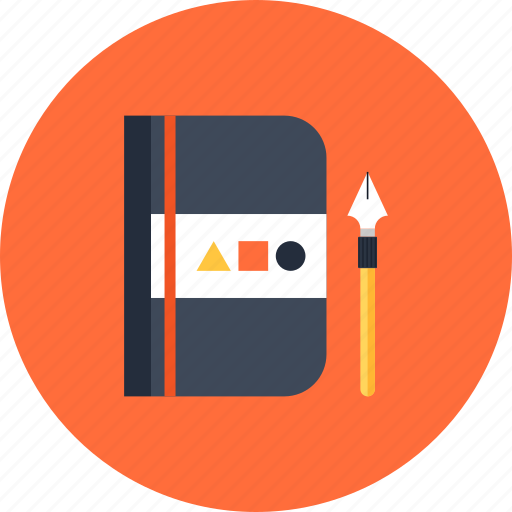 design, development, draw, education, graphic, notebook, notepad, paint, pen, sketching icon
