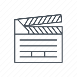 cinema, clapperboard, movies, play button, video player icon
