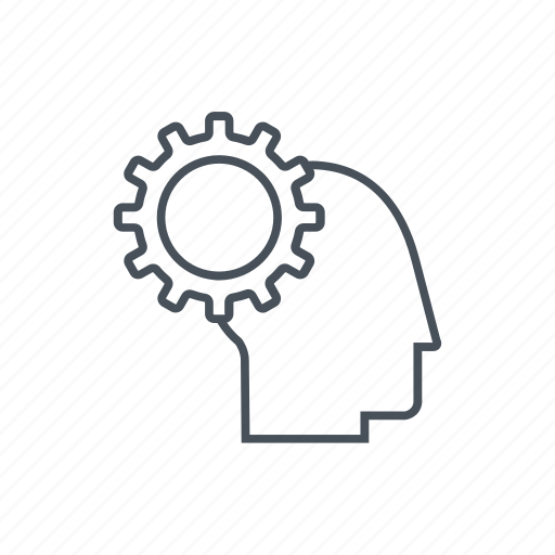 brainstorming, gear, head, idea, think icon