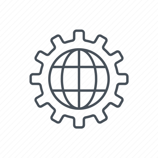 circle, gear, globe, interface, optimize, optimizing, website icon
