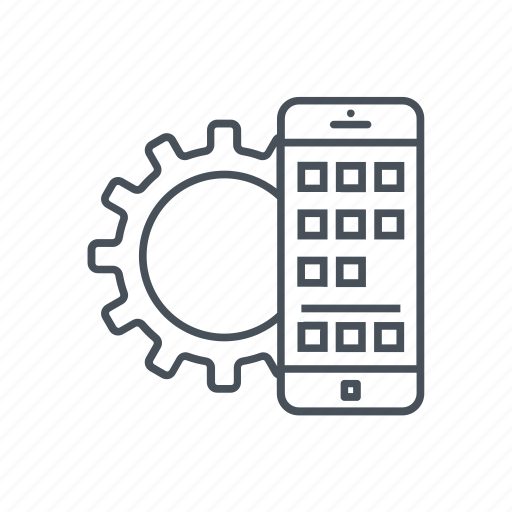 cellphone, cogwheel, development, gear, mobile phone, smartphone icon