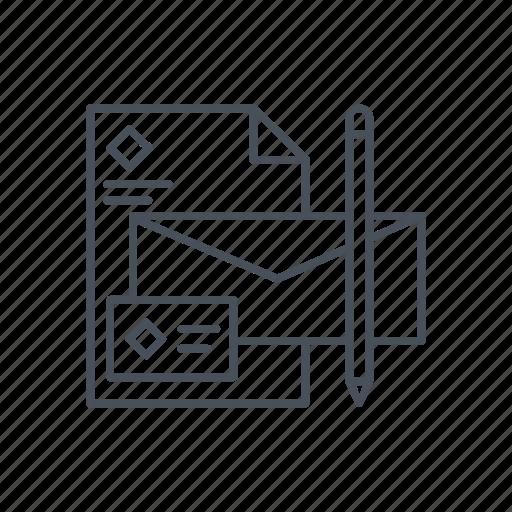 banner, brand, branding, design, envelop, id card, pencil icon