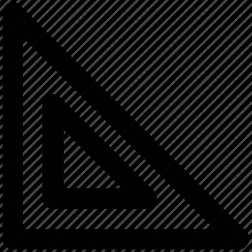 drafting triangle, measure, measurement, measuring, ruler, tool icon