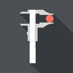 calipers, development, instrument, measurement, precision, ruler, tool icon