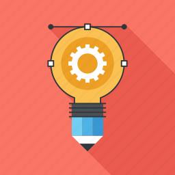 art, bulb, creative, idea, light, pencil, process icon