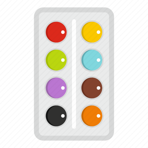 bright, drawing, paint, pallete, pallette, tool, watercolor icon