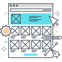 development, experience, flowchart, responsive, scheme, structure, wireframe icon