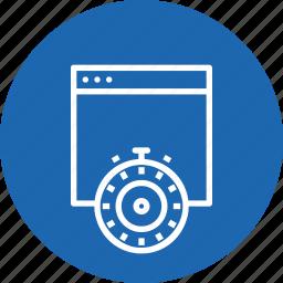 optimization, response, speed, time, timer, webpage, website icon